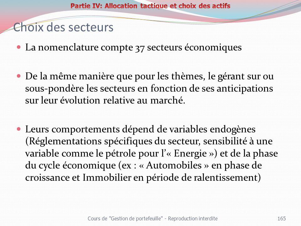 Choix des secteurs La nomenclature compte 37 secteurs économiques De la même manière que pour les thèmes, le gérant sur ou sous-pondère les secteurs e