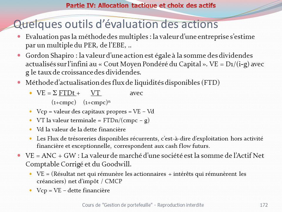 Quelques outils dévaluation des actions Evaluation pas la méthode des multiples : la valeur dune entreprise sestime par un multiple du PER, de lEBE,..