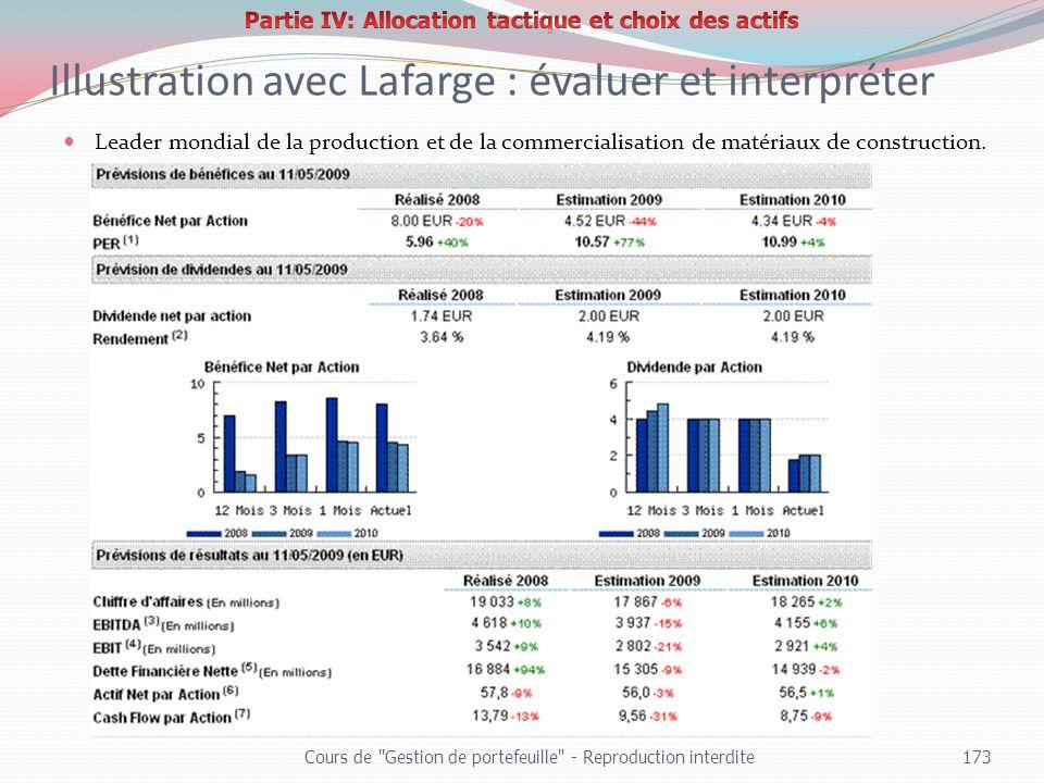 Illustration avec Lafarge : évaluer et interpréter Leader mondial de la production et de la commercialisation de matériaux de construction. Cours de