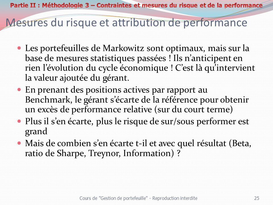 Mesures du risque et attribution de performance Les portefeuilles de Markowitz sont optimaux, mais sur la base de mesures statistiques passées ! Ils n