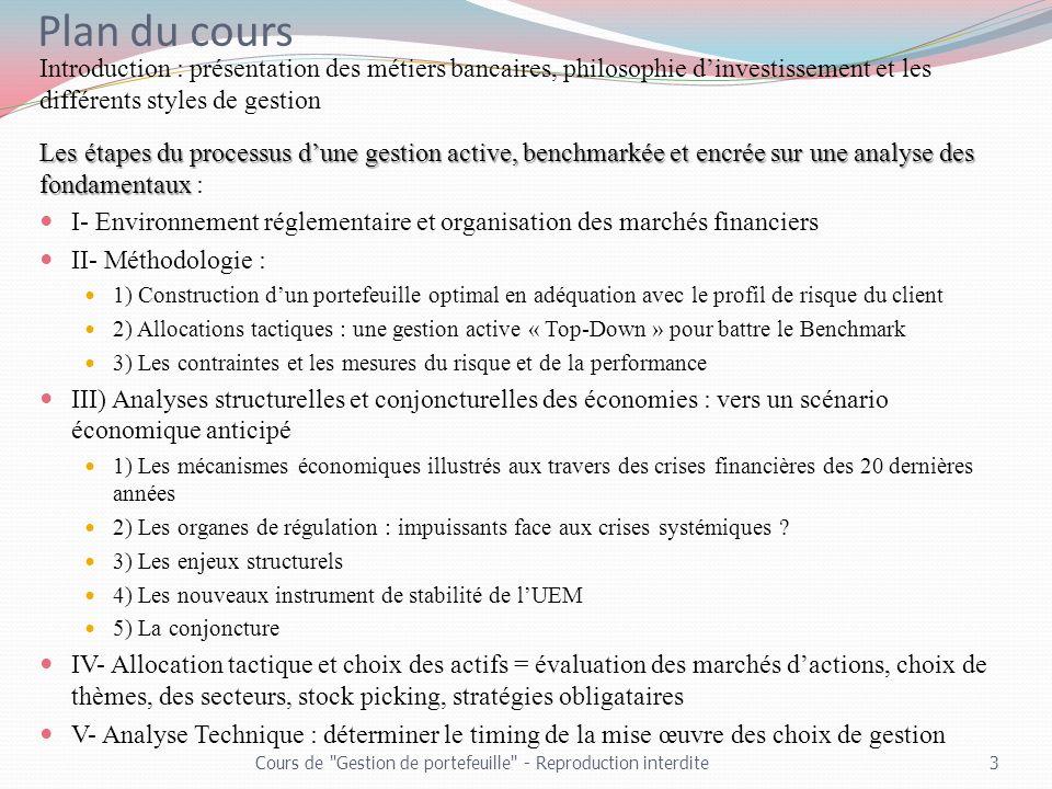 Plan du cours Introduction : présentation des métiers bancaires, philosophie dinvestissement et les différents styles de gestion Les étapes du process