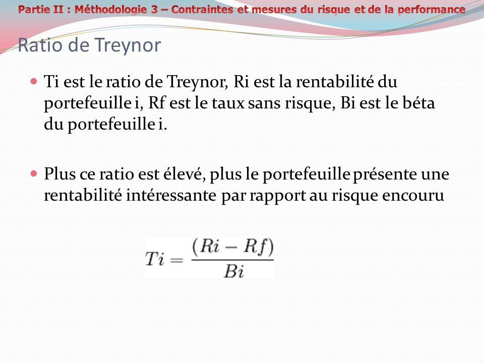 Ratio de Treynor Ti est le ratio de Treynor, Ri est la rentabilité du portefeuille i, Rf est le taux sans risque, Bi est le béta du portefeuille i.