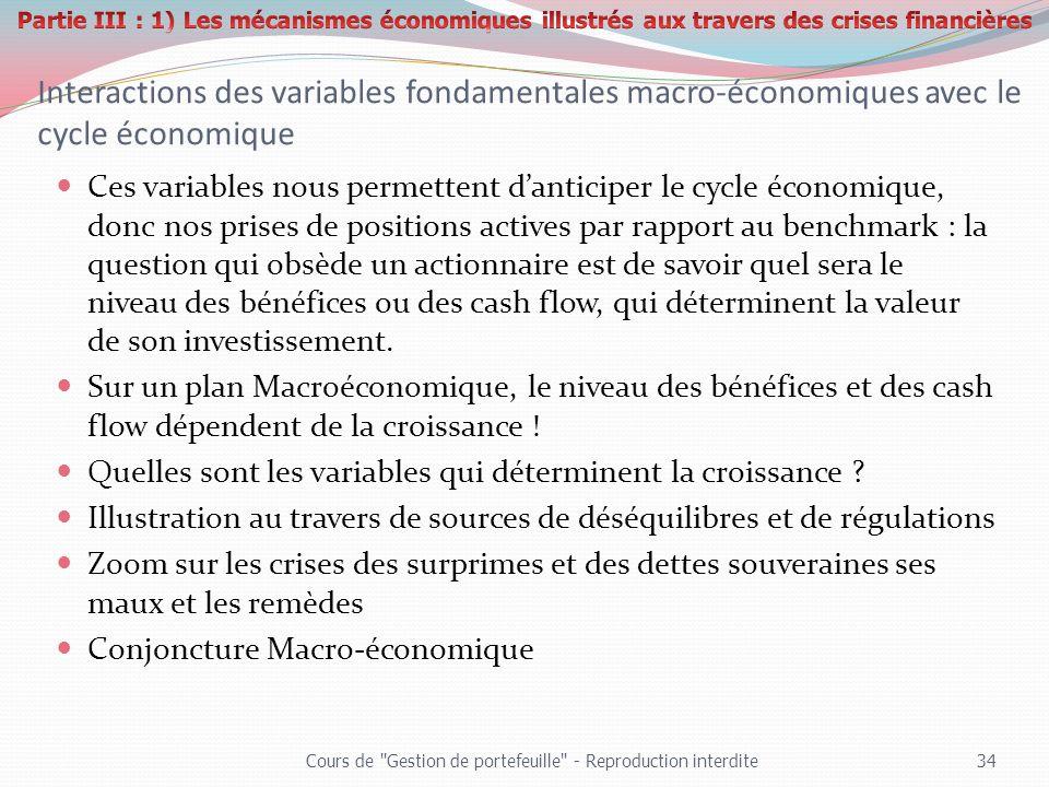 Interactions des variables fondamentales macro-économiques avec le cycle économique Ces variables nous permettent danticiper le cycle économique, donc