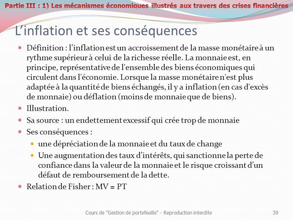 Linflation et ses conséquences Définition : linflation est un accroissement de la masse monétaire à un rythme supérieur à celui de la richesse réelle.
