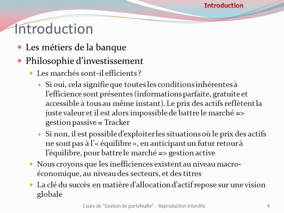 Introduction Les métiers de la banque Philosophie dinvestissement Les marchés sont-il efficients ? Si oui, cela signifie que toutes les conditions inh