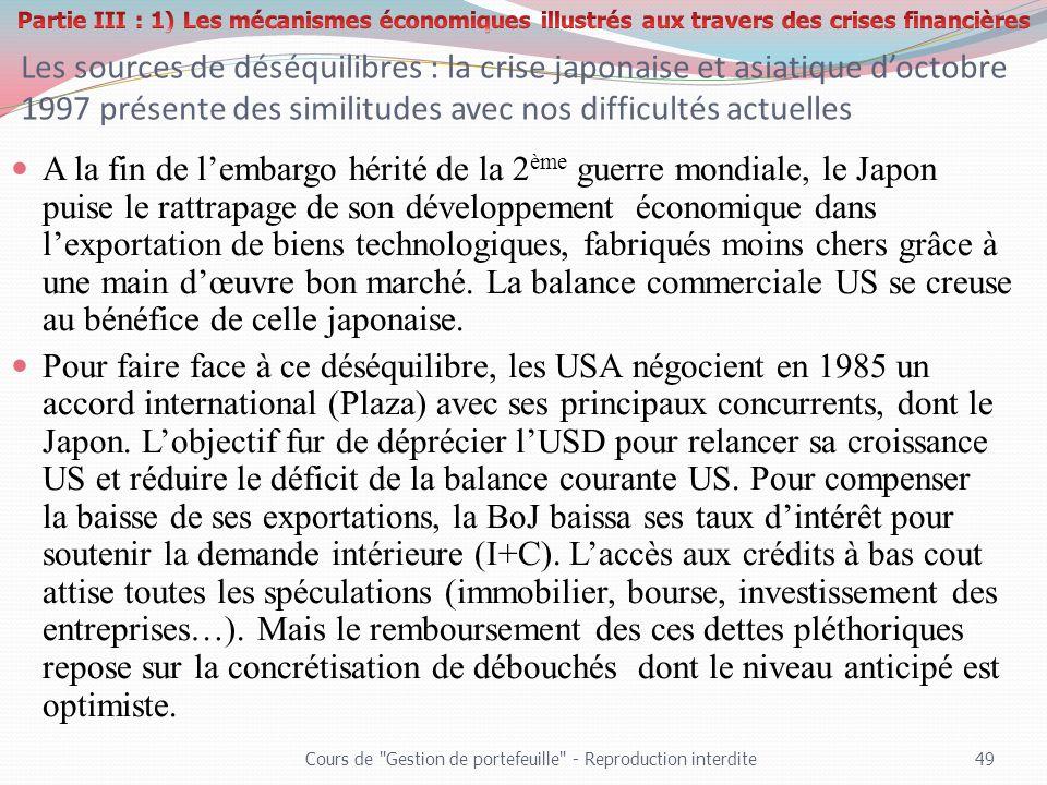 Les sources de déséquilibres : la crise japonaise et asiatique doctobre 1997 présente des similitudes avec nos difficultés actuelles A la fin de lemba