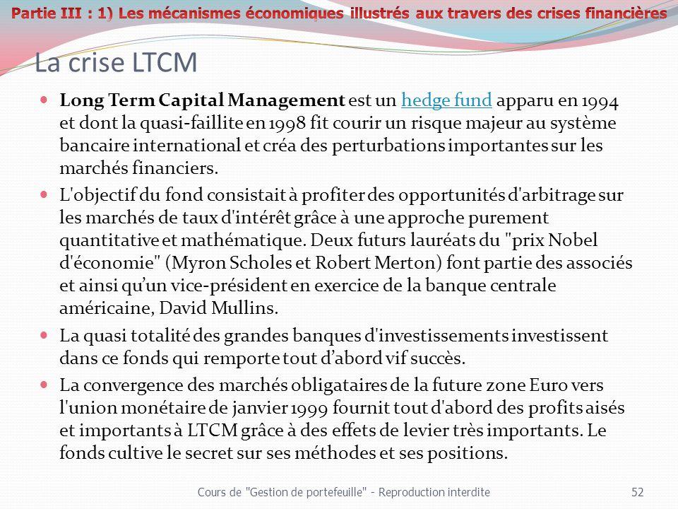 La crise LTCM Long Term Capital Management est un hedge fund apparu en 1994 et dont la quasi-faillite en 1998 fit courir un risque majeur au système b