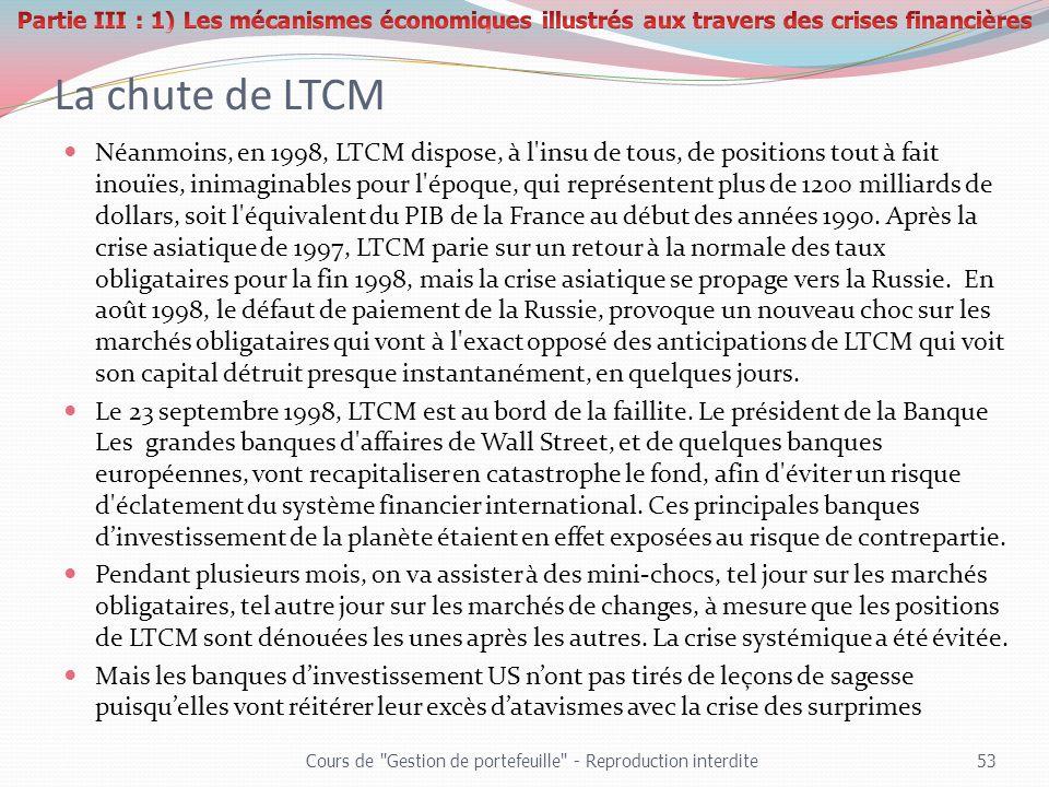 La chute de LTCM Néanmoins, en 1998, LTCM dispose, à l'insu de tous, de positions tout à fait inouïes, inimaginables pour l'époque, qui représentent p