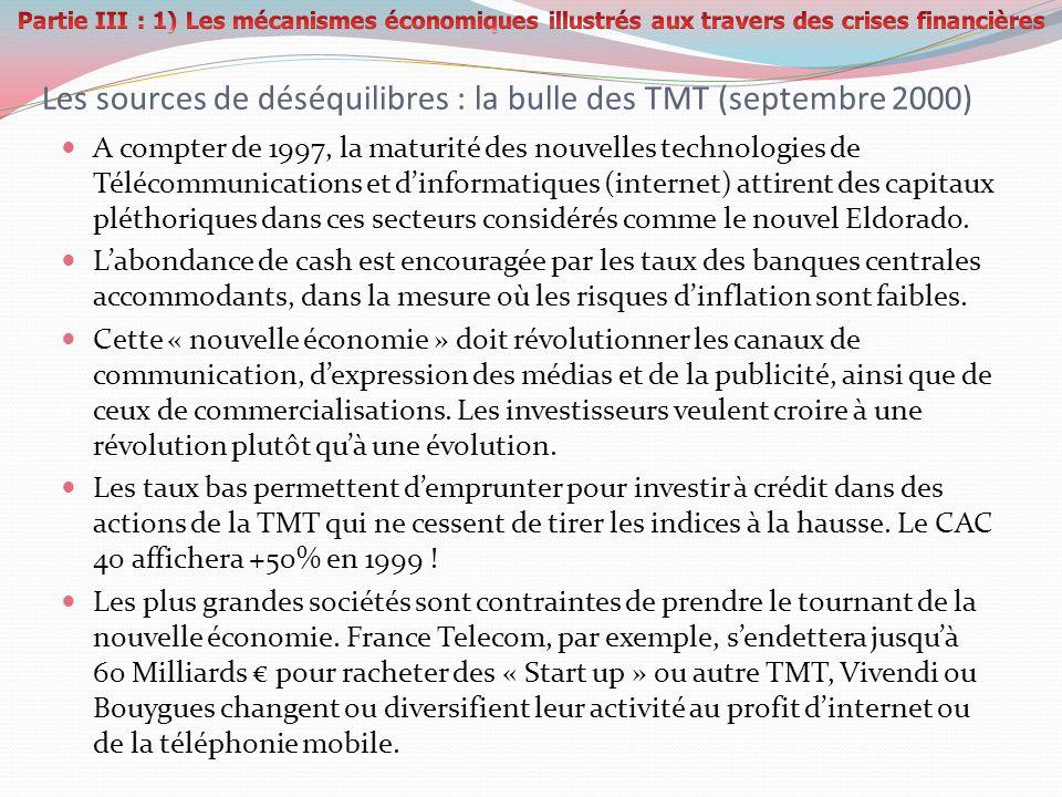 Les sources de déséquilibres : la bulle des TMT (septembre 2000) A compter de 1997, la maturité des nouvelles technologies de Télécommunications et di