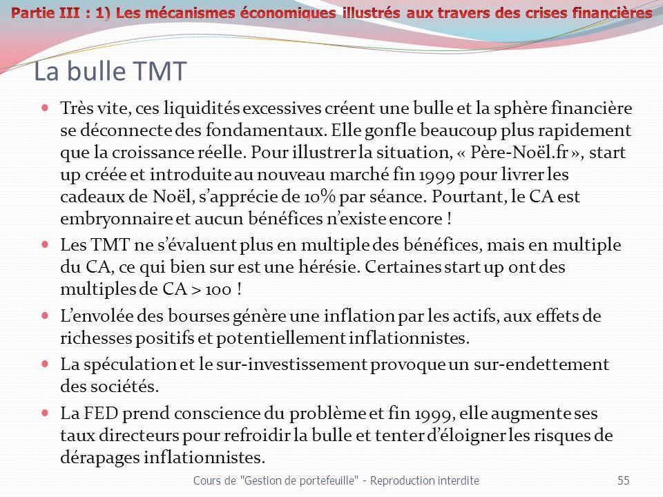 La bulle TMT Très vite, ces liquidités excessives créent une bulle et la sphère financière se déconnecte des fondamentaux. Elle gonfle beaucoup plus r
