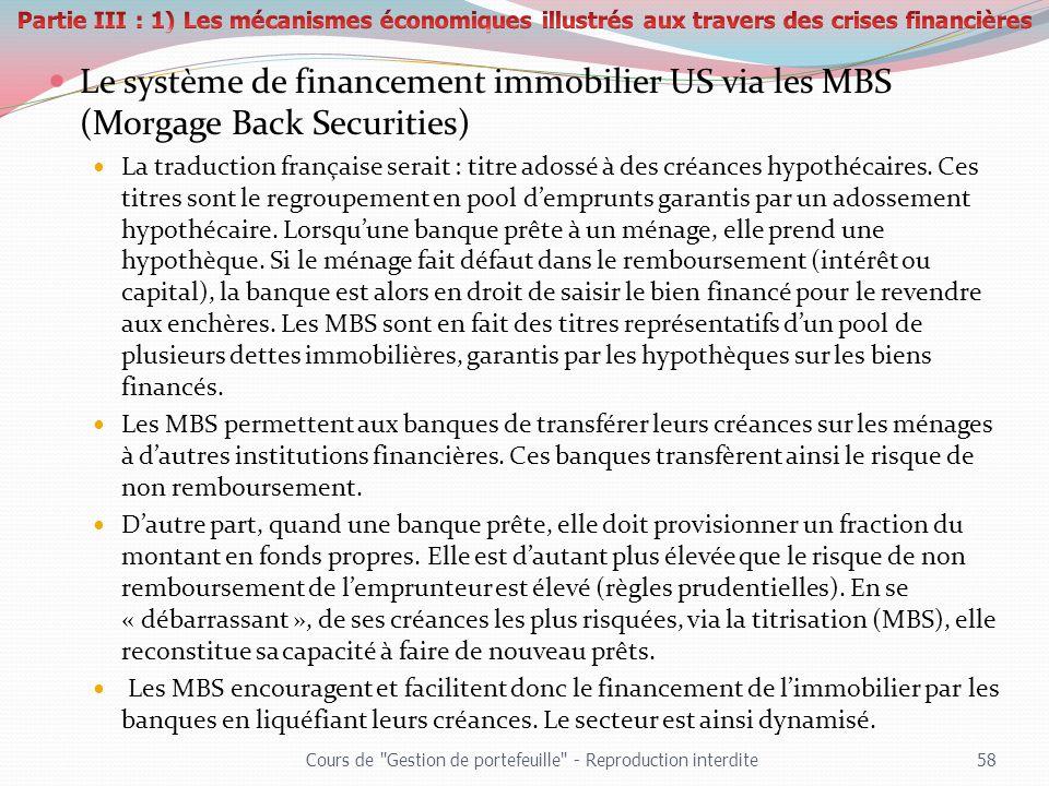 Le système de financement immobilier US via les MBS (Morgage Back Securities) La traduction française serait : titre adossé à des créances hypothécair