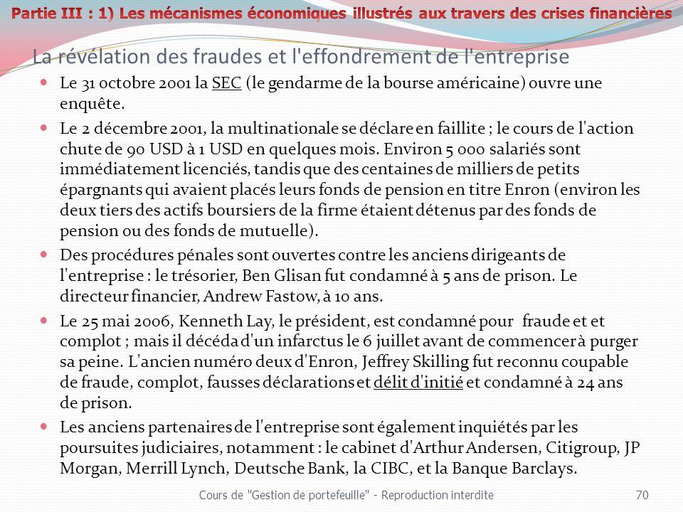 La révélation des fraudes et l'effondrement de l'entreprise Le 31 octobre 2001 la SEC (le gendarme de la bourse américaine) ouvre une enquête. Le 2 dé