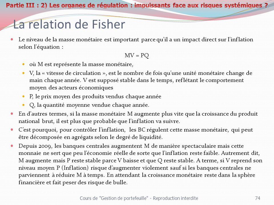 La relation de Fisher Le niveau de la masse monétaire est important parce qu'il a un impact direct sur l'inflation selon l'équation : MV = PQ où M est