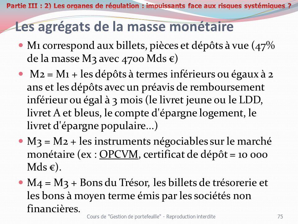 Les agrégats de la masse monétaire M1 correspond aux billets, pièces et dépôts à vue (47% de la masse M3 avec 4700 Mds ) M2 = M1 + les dépôts à termes
