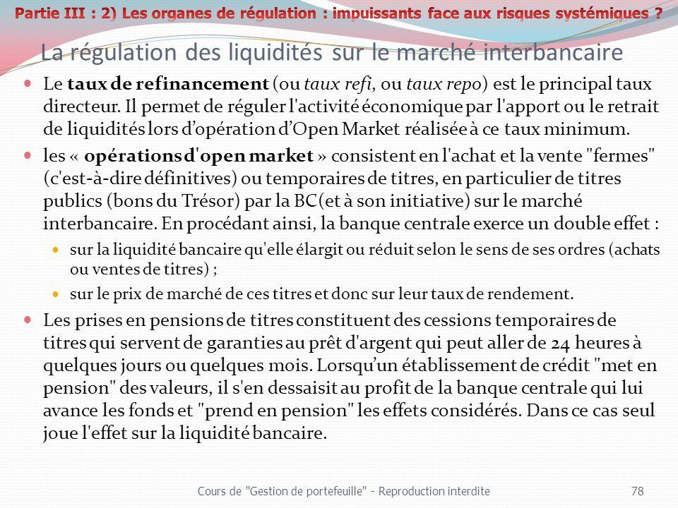 La régulation des liquidités sur le marché interbancaire Le taux de refinancement (ou taux refi, ou taux repo) est le principal taux directeur. Il per