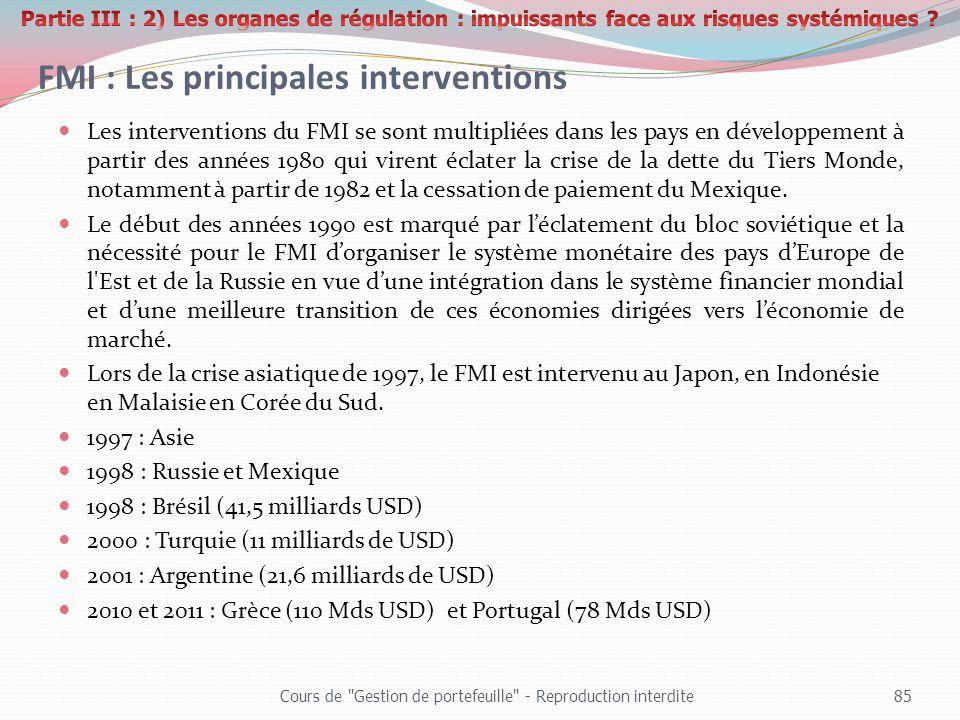 FMI : Les principales interventions Les interventions du FMI se sont multipliées dans les pays en développement à partir des années 1980 qui virent éc