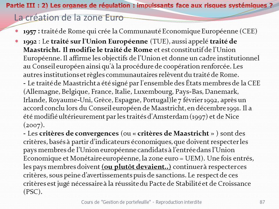 La création de la zone Euro 1957 : traité de Rome qui crée la Communauté Economique Européenne (CEE) 1992 : Le traité sur l'Union Européenne (TUE), au