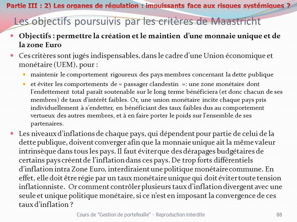 Les objectifs poursuivis par les critères de Maastricht Objectifs : permettre la création et le maintien dune monnaie unique et de la zone Euro Ces cr