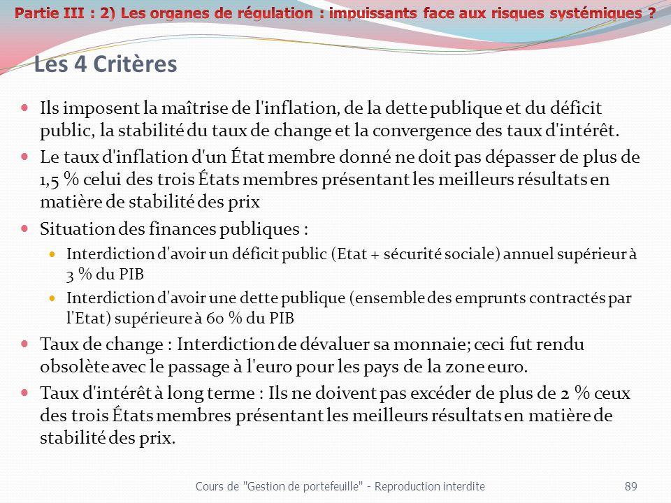 Les 4 Critères Ils imposent la maîtrise de l'inflation, de la dette publique et du déficit public, la stabilité du taux de change et la convergence de