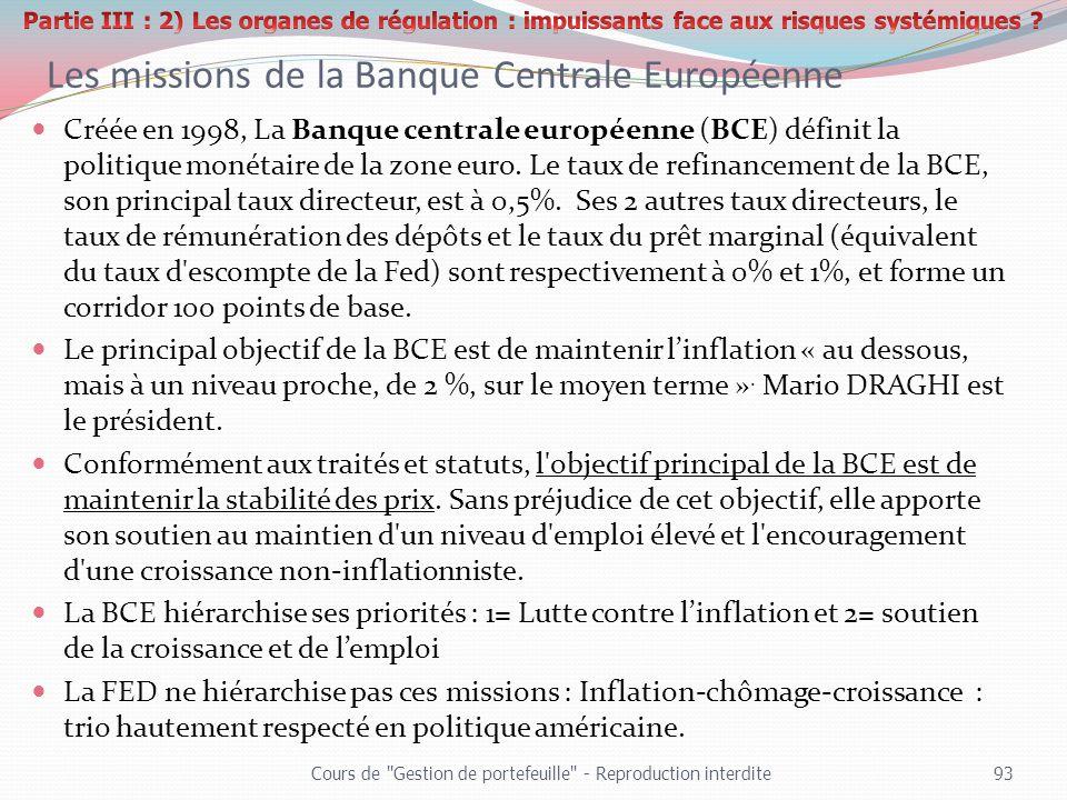 Les missions de la Banque Centrale Européenne Créée en 1998, La Banque centrale européenne (BCE) définit la politique monétaire de la zone euro. Le ta