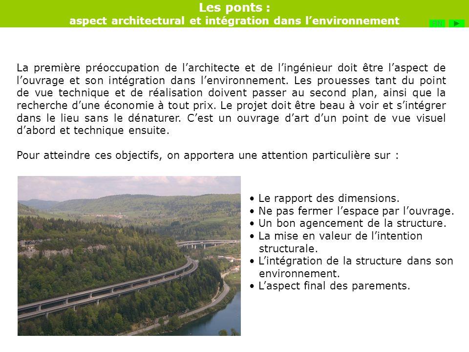 Les ponts : aspect architectural et intégration dans lenvironnement La première préoccupation de larchitecte et de lingénieur doit être laspect de lou