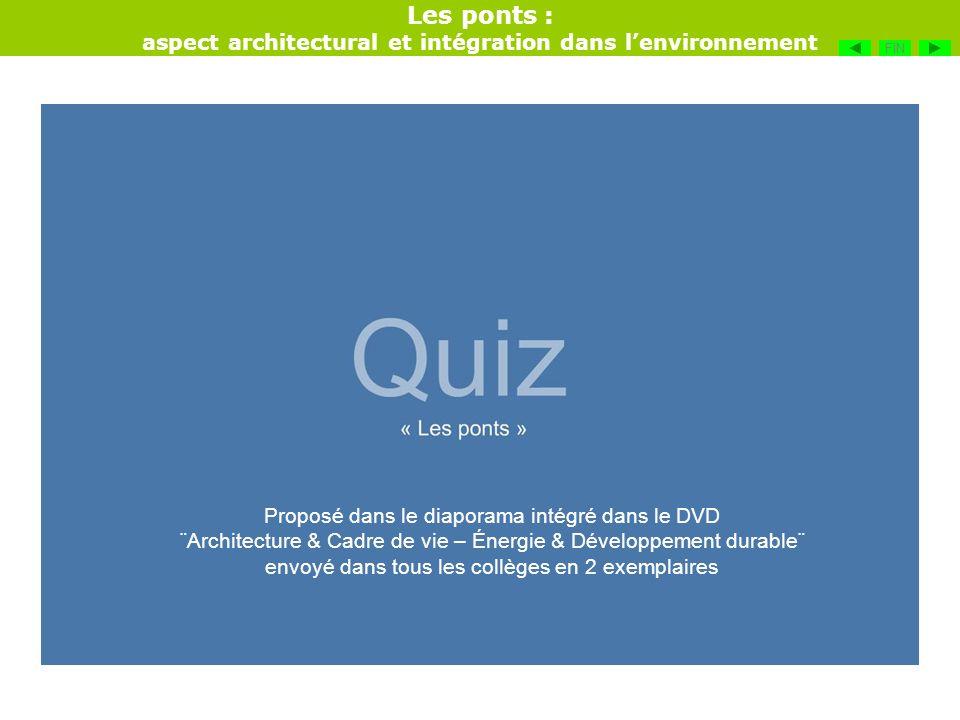 Les ponts : aspect architectural et intégration dans lenvironnement FIN Proposé dans le diaporama intégré dans le DVD ¨Architecture & Cadre de vie – É
