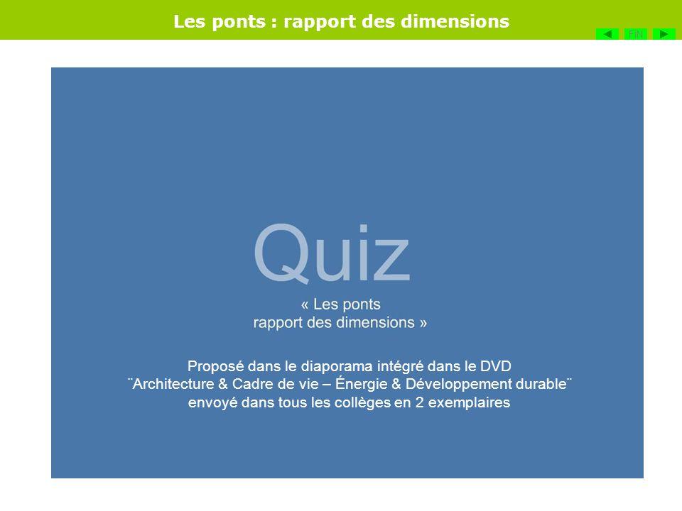 Les ponts : rapport des dimensions FIN Proposé dans le diaporama intégré dans le DVD ¨Architecture & Cadre de vie – Énergie & Développement durable¨ e