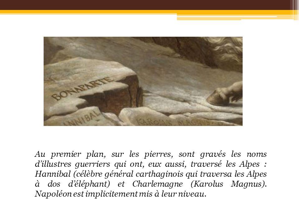 Au premier plan, sur les pierres, sont gravés les noms dillustres guerriers qui ont, eux aussi, traversé les Alpes : Hannibal (célèbre général carthag