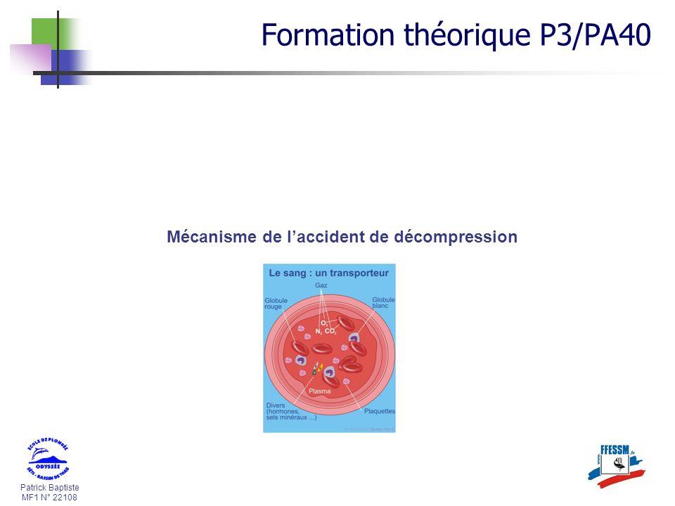 Patrick Baptiste MF1 N° 22108 Mécanisme de laccident de décompression Formation théorique P3/PA40