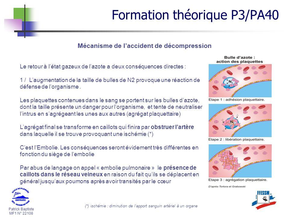 Patrick Baptiste MF1 N° 22108 Mécanisme de laccident de décompression Formation théorique P3/PA40 Le retour à létat gazeux de lazote a deux conséquenc
