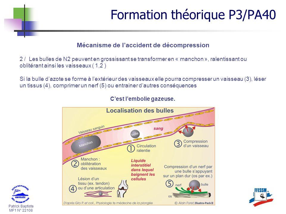 Patrick Baptiste MF1 N° 22108 Mécanisme de laccident de décompression Formation théorique P3/PA40 2 / Les bulles de N2 peuvent en grossissant se trans