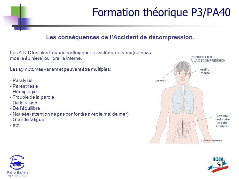 Patrick Baptiste MF1 N° 22108 Les conséquences de lAccident de décompression. Les A.D.D les plus fréquents atteignent le système nerveux (cerveau, moe