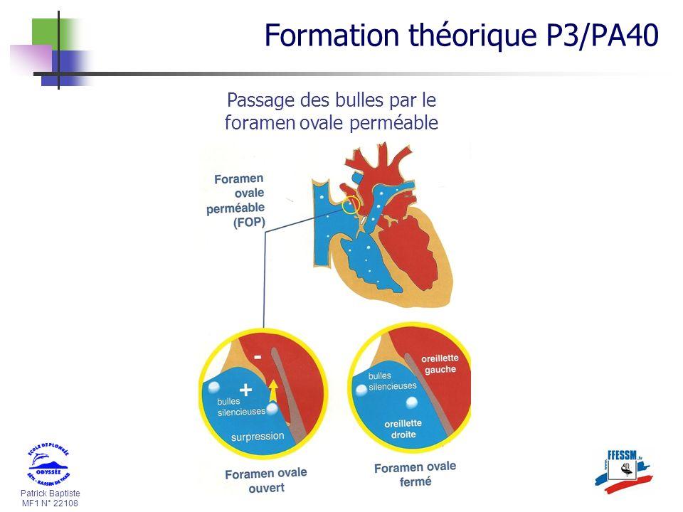 Patrick Baptiste MF1 N° 22108 Passage des bulles par le foramen ovale perméable Formation théorique P3/PA40