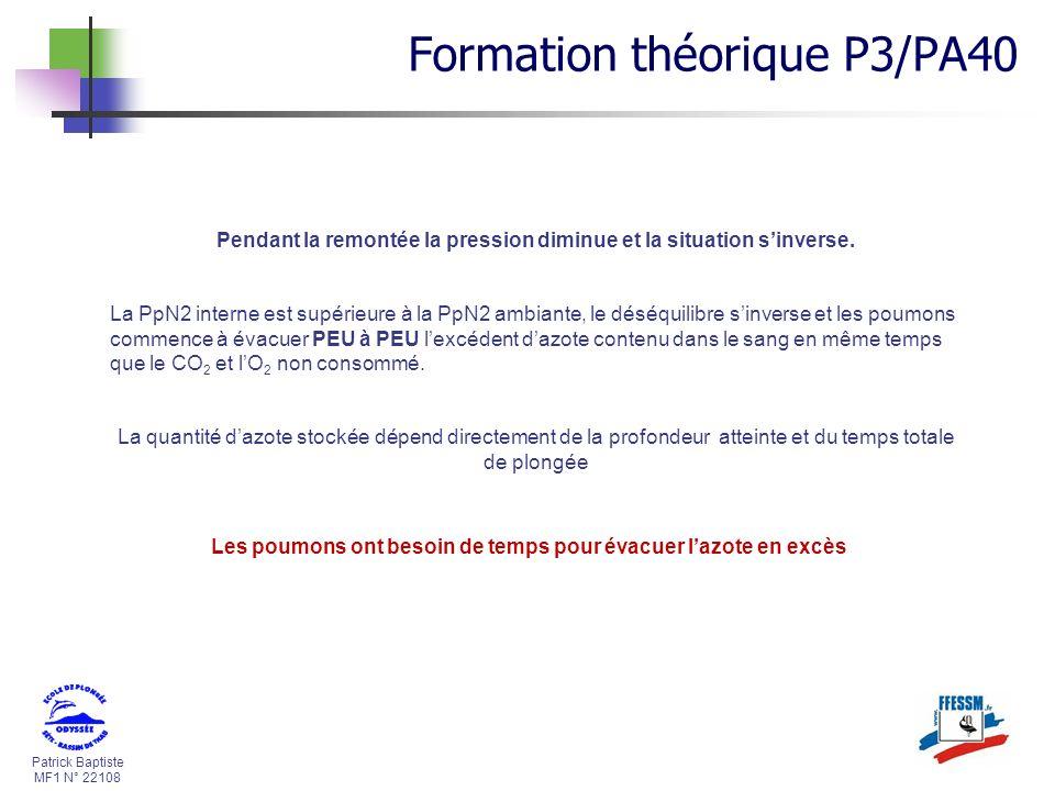 Patrick Baptiste MF1 N° 22108 Pendant la remontée la pression diminue et la situation sinverse. La PpN2 interne est supérieure à la PpN2 ambiante, le