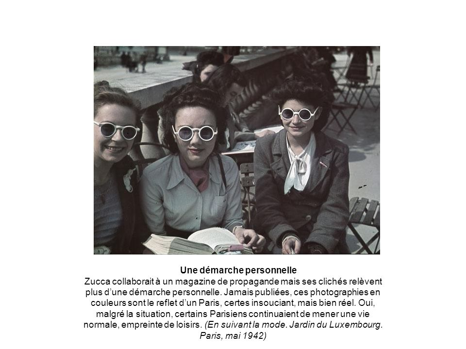 Une démarche personnelle Zucca collaborait à un magazine de propagande mais ses clichés relèvent plus dune démarche personnelle.