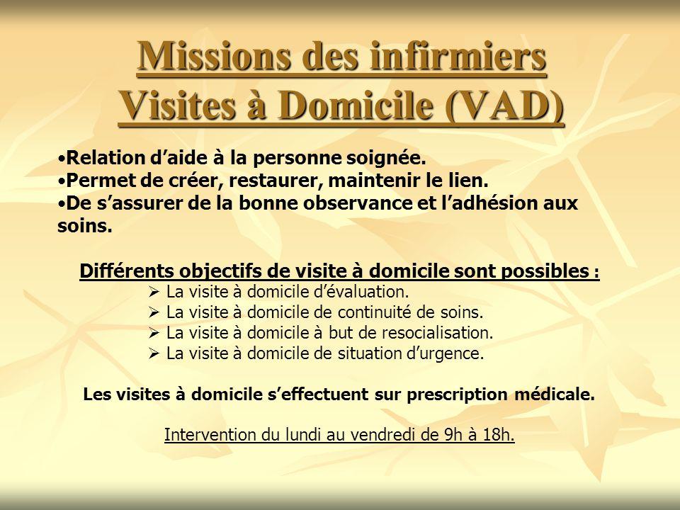 Missions des infirmiers Visites à Domicile (VAD) Relation daide à la personne soignée. Permet de créer, restaurer, maintenir le lien. De sassurer de l