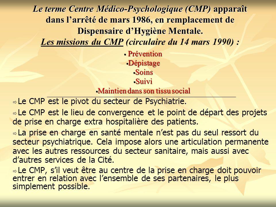 Le terme Centre Médico-Psychologique (CMP) apparaît dans larrêté de mars 1986, en remplacement de Dispensaire dHygiène Mentale. Le terme Centre Médico