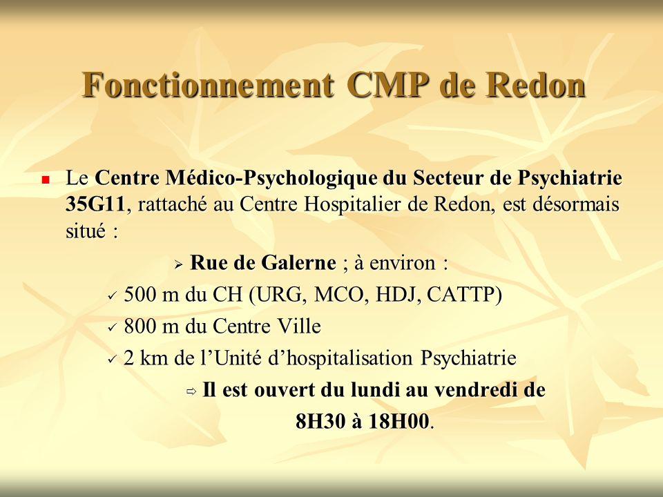 Fonctionnement CMP de Redon Le Centre Médico-Psychologique du Secteur de Psychiatrie 35G11, rattaché au Centre Hospitalier de Redon, est désormais situé : Le Centre Médico-Psychologique du Secteur de Psychiatrie 35G11, rattaché au Centre Hospitalier de Redon, est désormais situé : Rue de Galerne ; à environ : Rue de Galerne ; à environ : 500 m du CH (URG, MCO, HDJ, CATTP) 500 m du CH (URG, MCO, HDJ, CATTP) 800 m du Centre Ville 800 m du Centre Ville 2 km de lUnité dhospitalisation Psychiatrie 2 km de lUnité dhospitalisation Psychiatrie Il est ouvert du lundi au vendredi de Il est ouvert du lundi au vendredi de 8H30 à 18H00.