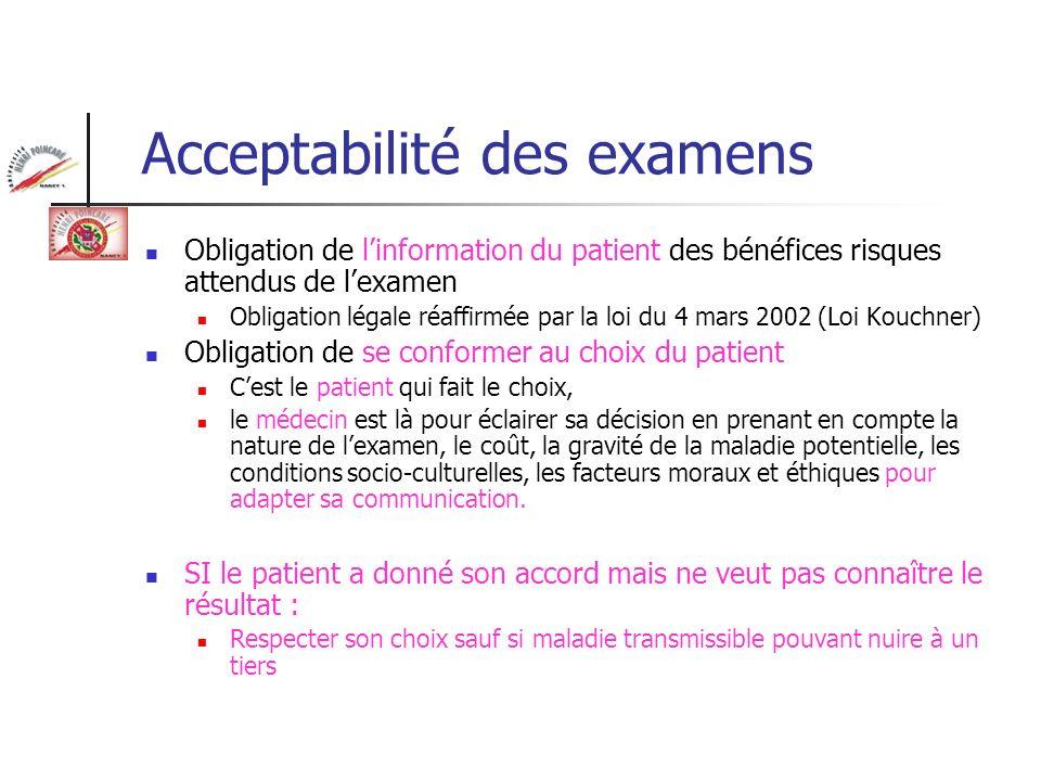 Acceptabilité des examens Obligation de linformation du patient des bénéfices risques attendus de lexamen Obligation légale réaffirmée par la loi du 4