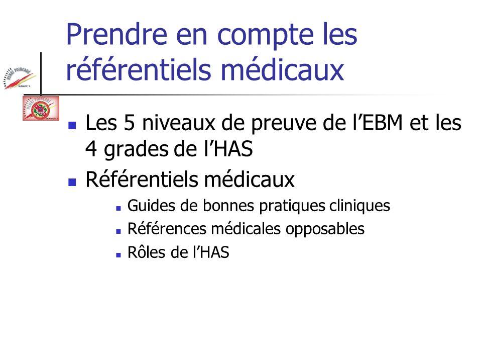 Prendre en compte les référentiels médicaux Les 5 niveaux de preuve de lEBM et les 4 grades de lHAS Référentiels médicaux Guides de bonnes pratiques c