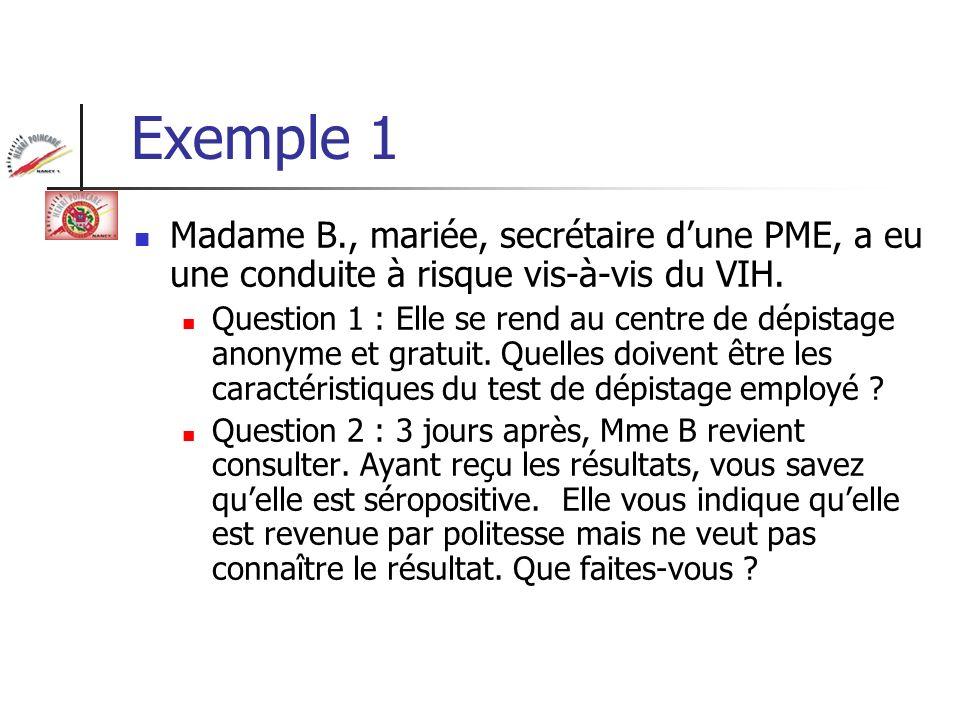Exemple 1 Madame B., mariée, secrétaire dune PME, a eu une conduite à risque vis-à-vis du VIH. Question 1 : Elle se rend au centre de dépistage anonym