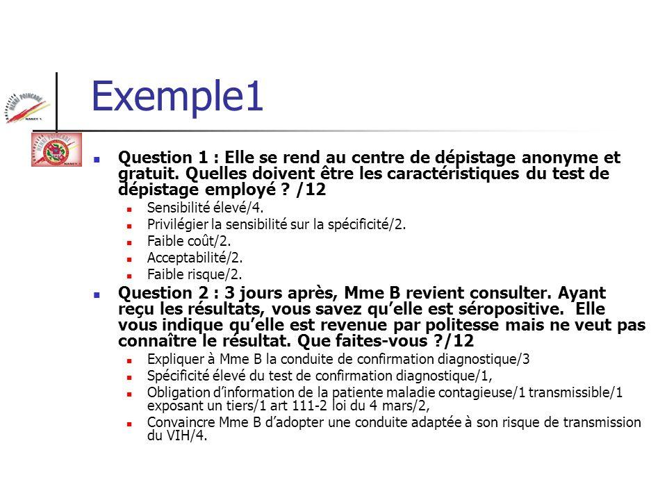 Exemple1 Question 1 : Elle se rend au centre de dépistage anonyme et gratuit. Quelles doivent être les caractéristiques du test de dépistage employé ?