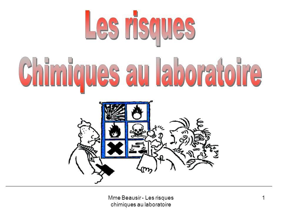 62 PRODUITS AMMONIAQUENH 3,H 2 O ou NH 4 OH CorrosifDangereux pour lenvironnement Mme Beausir - Les risques chimiques au laboratoire