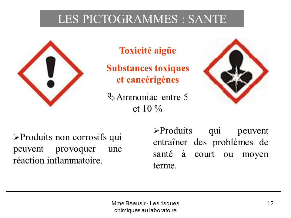 12 Toxicité aigüe Substances toxiques et cancérigènes Ammoniac entre 5 et 10 % Produits qui peuvent entraîner des problèmes de santé à court ou moyen