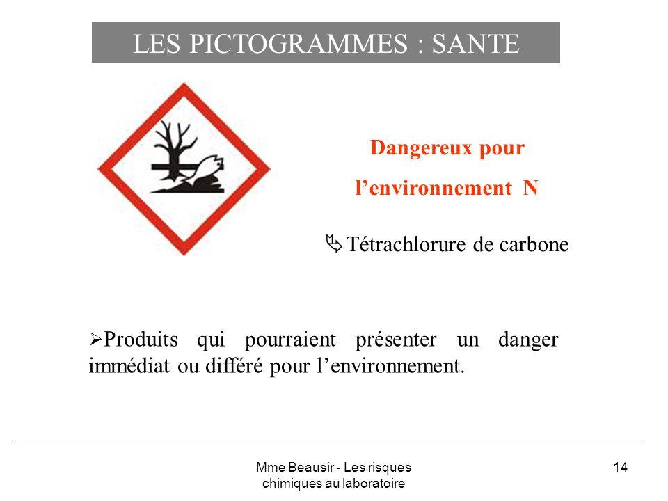 14 Dangereux pour lenvironnement N Tétrachlorure de carbone Produits qui pourraient présenter un danger immédiat ou différé pour lenvironnement. Mme B