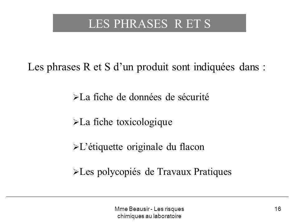 16 Les phrases R et S dun produit sont indiquées dans : La fiche de données de sécurité La fiche toxicologique Létiquette originale du flacon Les poly