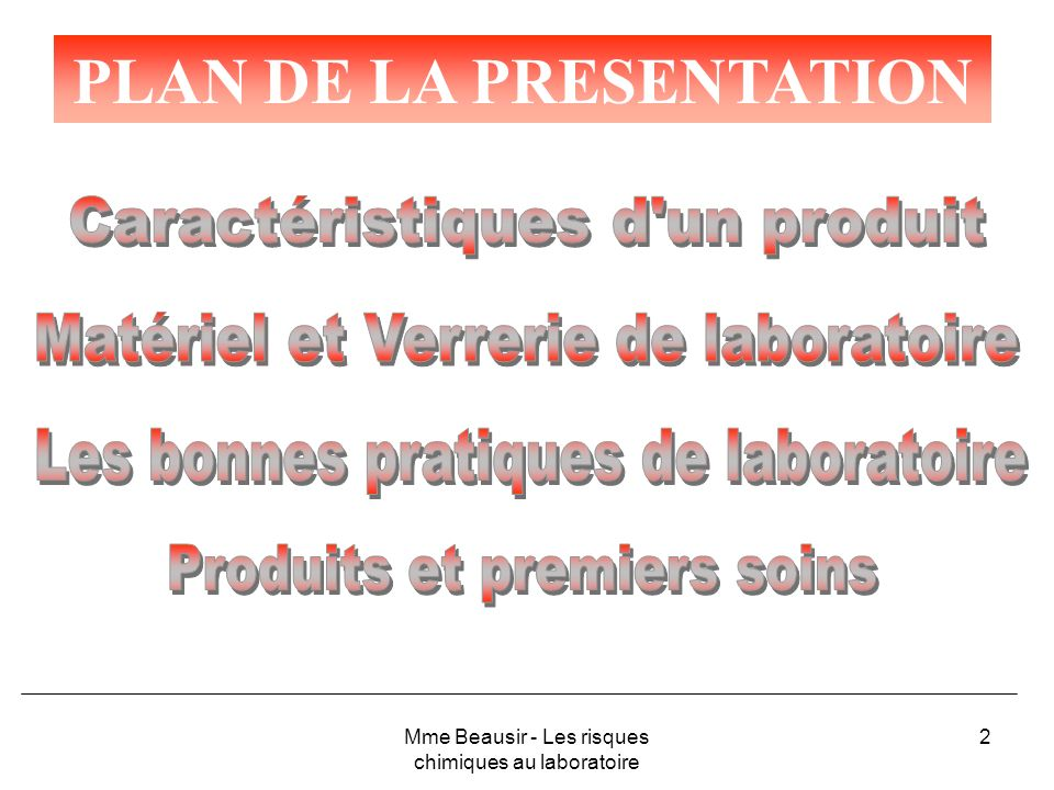 43 LA HOTTE Principe de fonctionnement Plan de travail Ouverture Ecran mobile Fentes dextraction Vers le ventilateur dextraction Mme Beausir - Les risques chimiques au laboratoire