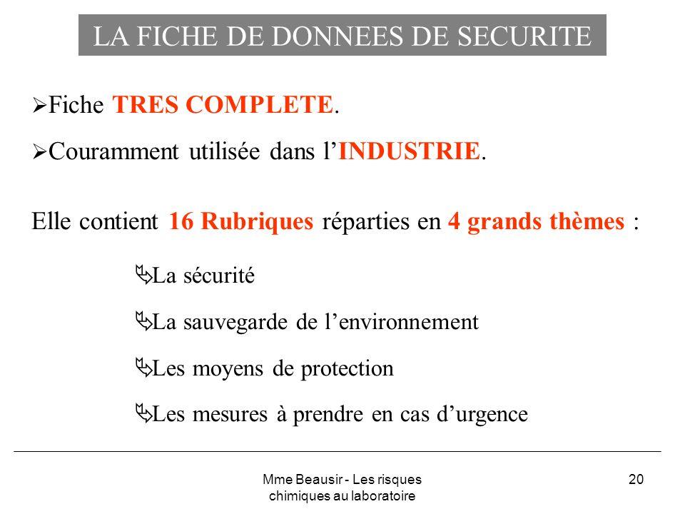 20 LA FICHE DE DONNEES DE SECURITE Fiche TRES COMPLETE. Couramment utilisée dans lINDUSTRIE. Elle contient 16 Rubriques réparties en 4 grands thèmes :