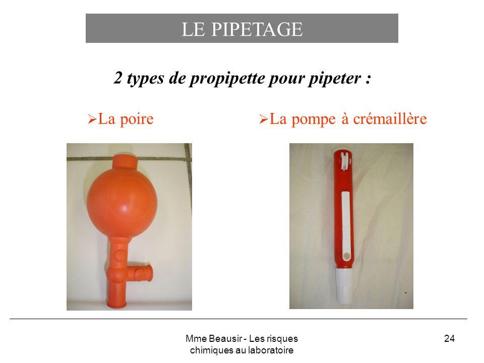 24 LE PIPETAGE La poire 2 types de propipette pour pipeter : La pompe à crémaillère Mme Beausir - Les risques chimiques au laboratoire