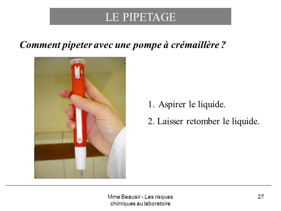27 LE PIPETAGE Comment pipeter avec une pompe à crémaillère ? 1.Aspirer le liquide. 2. Laisser retomber le liquide. Mme Beausir - Les risques chimique
